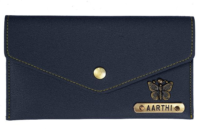 Blue colored personalized minimal clutch with charm